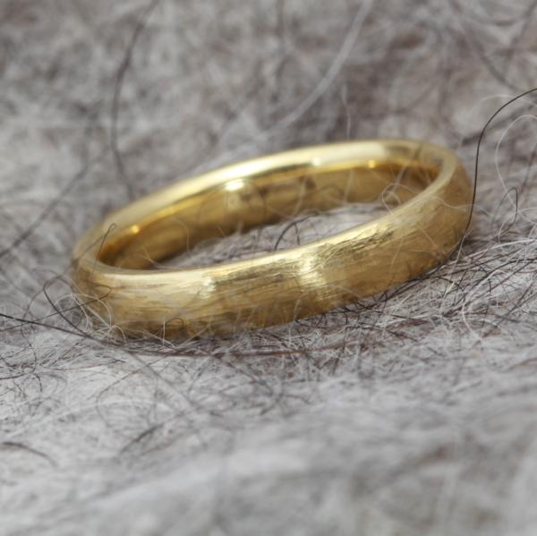Distressed gold wedding ring